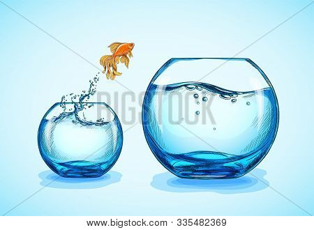 Goldfish Jumping From The Small Fishbowl To Bigger