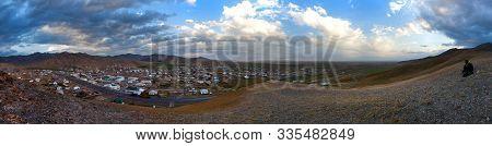 Evening Panoramic View Of Sary Tash Willage An Pamir Mountains, Landscape Around Pamir Highway Inter