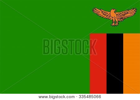 The Original Flag Of Zambia,vector Illustration The Color Of The Original,  Official Colors And Prop