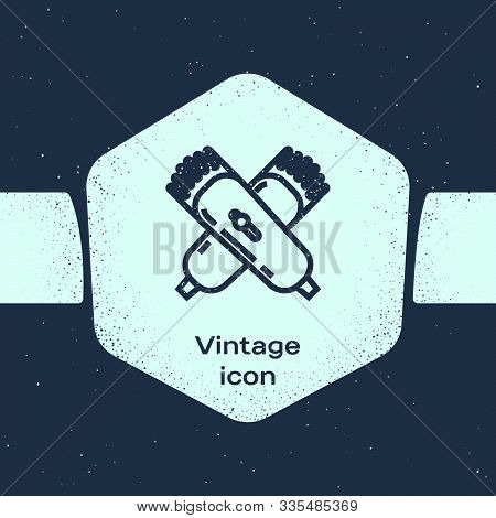 Grunge Line Crossed Electrical Hair Clipper Or Shaver Icon Isolated On Blue Background. Barbershop S