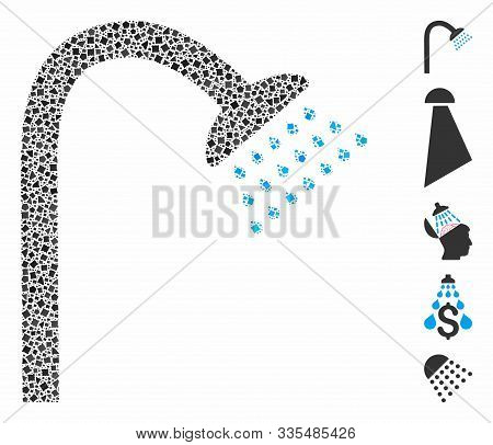 Shower Icon Composition Of Inequal Items In Various Sizes And Shades, Based On Shower Icon. Vector I