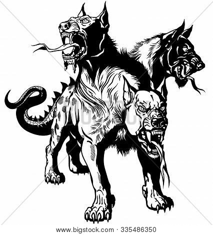 Cerberus Hellhound Mythological Three Headed Dog The Guard Of Entrance To Hell. Hound Of Hades. Isol