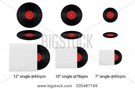 Retro Vinyl Discs Records Set Different Sizes Singles. Realistic Vinyl Record With Cover Mockup. Vin