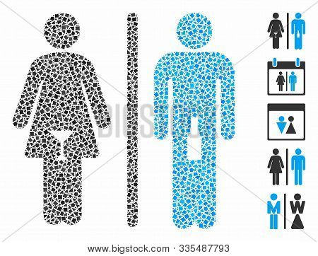 Wc Alcoholic Persons Icon Mosaic Of Inequal Pieces In Variable Sizes And Color Tints, Based On Wc Al