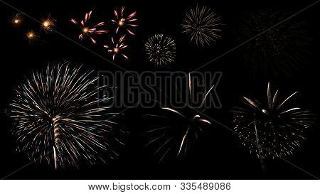 Colorful Variety Fireworks Isolated On Black Background. Beautiful Firework Light