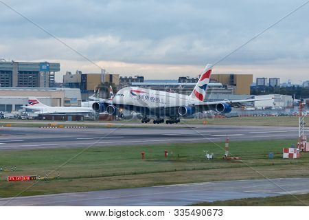 London, England - Circa 2019 : British Airways Airbus A380 Aircraft G-xlej Landing At London Heathro