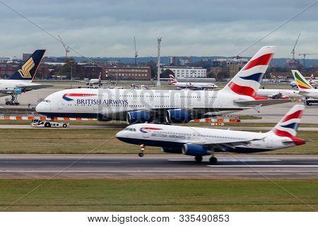 London, England - Circa 2019 : British Airways Airbus A380 Aircraft G-xled At London Heathrow Airpor