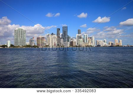 View Of The City Of Miami Over The Ocean