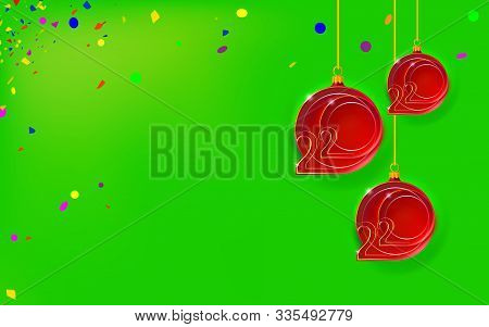New Year Green Background With Christmas Red Balls. Bubbles Inlaid With 2020 Thin Inscription. Happy