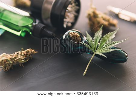 Marijuana Smoking Pipe Cbd And Thc On Buds In Cannabis. Cannabis Legalisation. Cannabis Buds Weed On