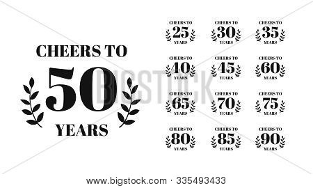 Cheers To 50 Years Lettering. Set Of Birthday Or Anniversary Celebration Typography. Easy To Edit Ve