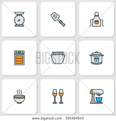 Cook Icons Colored Line Set With Hot Soup, Oven, Kitchen Scales And Other Cabernet Elements. Isolate
