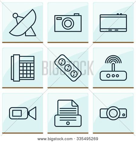 Hardware Icons Set With Projector, Photocopy, Video Camera And Other Work Phone Elements. Isolated V