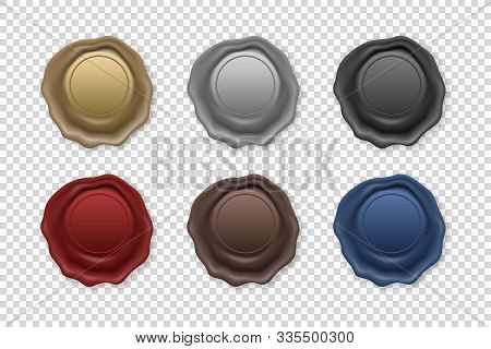 Vector 3d Realistic Vintage Retro Stamp Wax Seal Icon Set Closeup Isolated On Transparent Background