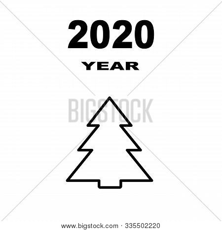 Christmas Tree On A White Background. Symbol Of 2020. Merry Christmas