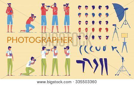 Photographer Character Constructor Kit Or Diy Set Flat Cartoon Vector Illustration. Collection Body
