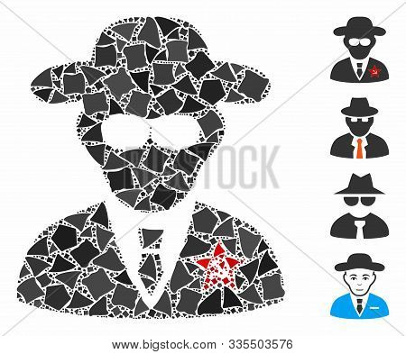 Kgb Spy Icon Composition Of Uneven Pieces In Different Sizes And Shades, Based On Kgb Spy Icon. Vect