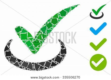 True Icon Mosaic Of Raggy Items In Various Sizes And Color Tinges, Based On True Icon. Vector Tubero