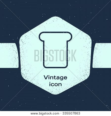 Grunge Line Bread Toast For Sandwich Piece Of Roasted Crouton Icon Isolated On Blue Background. Lunc