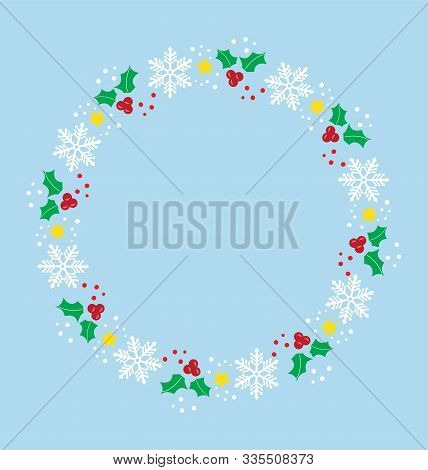 Vector Illustration Of Christmas Card With A Frame.
