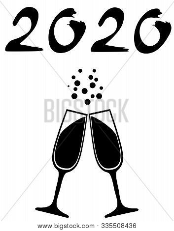 Vector Illustration Of Wine, Champagne Glasses New Year 2020.