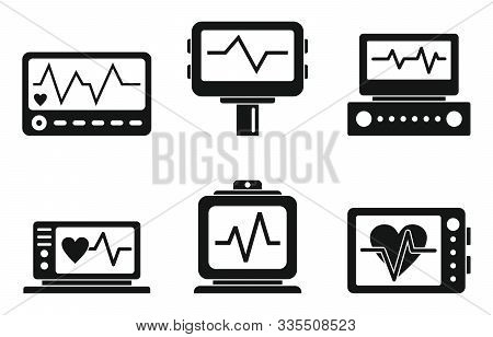 Electrocardiogram Icons Set. Simple Set Of Electrocardiogram Vector Icons For Web Design On White Ba