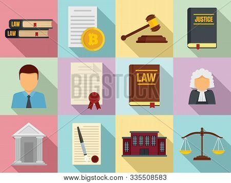 Legislation Icons Set. Flat Set Of Legislation Vector Icons For Web Design