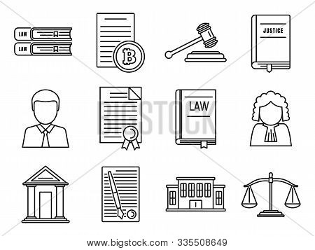 City Legislation Icons Set. Outline Set Of City Legislation Vector Icons For Web Design Isolated On