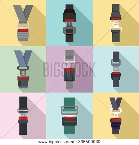 Seatbelt Icons Set. Flat Set Of Seatbelt Vector Icons For Web Design