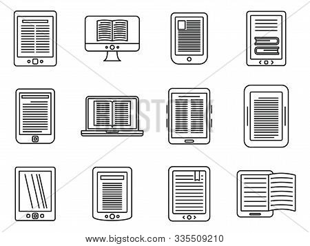 Ebook Reader Icons Set. Outline Set Of Ebook Reader Vector Icons For Web Design Isolated On White Ba