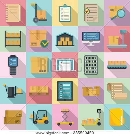 Inventory Icons Set. Flat Set Of Inventory Vector Icons For Web Design