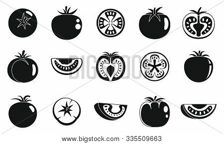 Garden Tomato Icons Set. Simple Set Of Garden Tomato Vector Icons For Web Design On White Background