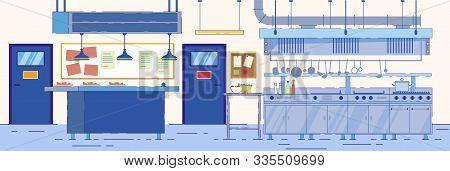 Empty Kitchen Room In Restaurant, Cafe, Hotel Vector Illustration. Food Preparation Process. Modern