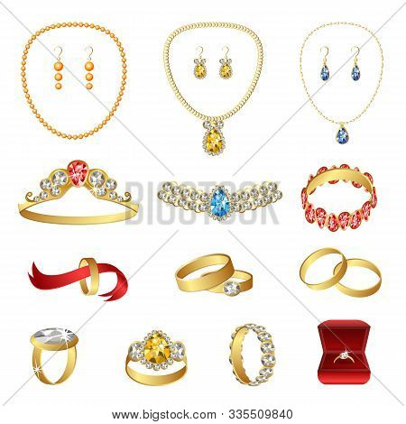 Jewellery Icons Set. Cartoon Set Of Jewellery Vector Icons For Web Design