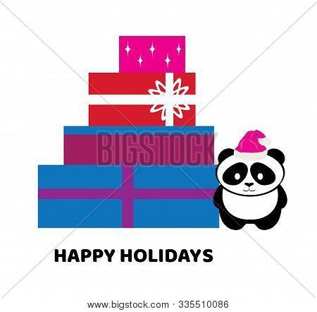 Vector Illustration Of Christmas Boxes And A Cute Panda Bear In Santa Hat.