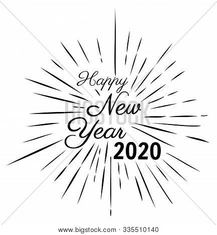 Vector Illustration Of New Year Rays. 2020 New Year Background.