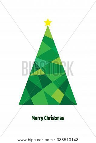 Vector Illustration Of An Abstract Christmas Tree Isolated On White Background.