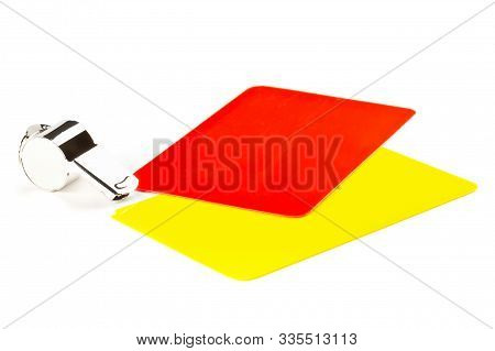 Soccer Sports Referee Yellow And Red Cards With Chrome Whistle On White Background - Penalty, Foul O