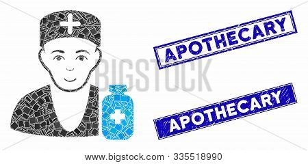 Mosaic Apothecary Doctor Pictogram And Rectangular Stamps. Flat Vector Apothecary Doctor Mosaic Pict