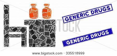 Mosaic Apothecary Table Pictogram And Rectangular Rubber Prints. Flat Vector Apothecary Table Mosaic