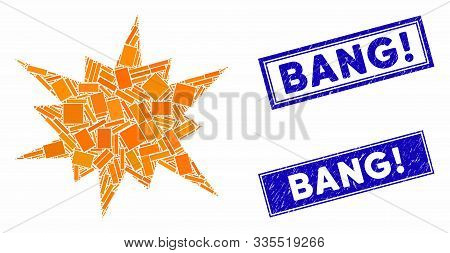 Mosaic Bang Icon And Rectangular Stamps. Flat Vector Bang Mosaic Icon Of Randomized Rotated Rectangl