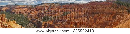 Panorama Of A Western Canyon  From The Ramparts Overlook In Cedar Breaks National Monument In Utah