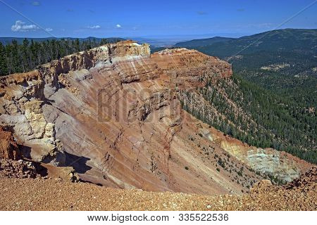 Eroded Natural Amphitheater In The Mountains At Ramparts Overlook In Cedar Breaks National Monument
