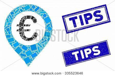 Mosaic Euro Pushpin Pictogram And Rectangular Rubber Prints. Flat Vector Euro Pushpin Mosaic Pictogr