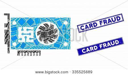 Mosaic Gpu Accelerator Card Pictogram And Rectangular Seal Stamps. Flat Vector Gpu Accelerator Card