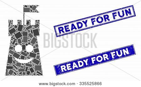 Mosaic Happy Bulwark Tower Pictogram And Rectangular Seals. Flat Vector Happy Bulwark Tower Mosaic P