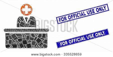 Mosaic Medical Bureaucrat Pictogram And Rectangle Watermarks. Flat Vector Medical Bureaucrat Mosaic