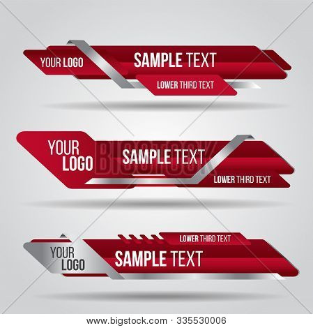 Lower Third Red Design Template Modern Contemporary. Set Of Banners Bar Screen Broadcast Bar Name. C