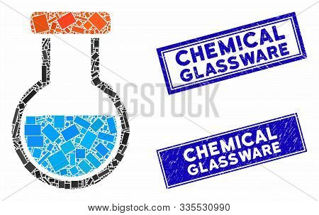 Mosaic Phial Icon And Rectangle Seal Stamps. Flat Vector Phial Mosaic Pictogram Of Scattered Rotated