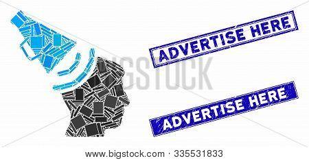 Mosaic Propaganda Megaphone Icon And Rectangle Seals. Flat Vector Propaganda Megaphone Mosaic Icon O